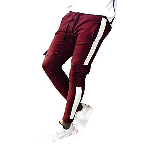PASATO Clearance Sale!Mens Autumn Pocket Cargo Joggers Patchwork Casual Drawstring Sweatpants Trouser Pants Soprt (Wine, XL)