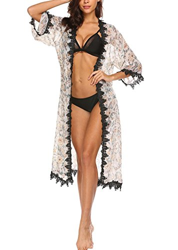 Imposes Women Beach Cover up, Floral Print Cardigan Chiffon Loose Bikini Blouse (L,White) by Imposes (Image #3)