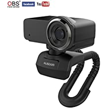 Ausdom Webcam Streaming 1080p HD USB Web Camera Compatible with OBS Built-in Microphone Computer Camera, Desktop or Laptop Webcam (Black)