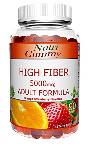 NutriGummy High Fiber 5000mcg Gluten-Free Adult Gummy, Advanced Complete Formula Orange and Mixed Berry Flavored, 60 Gummies