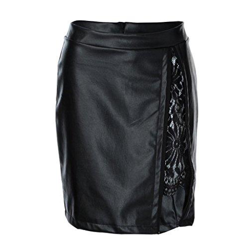 YJYdada Women Fashion Girls Leather Lace Uniform Pleated Skirt (S) from YJYdada
