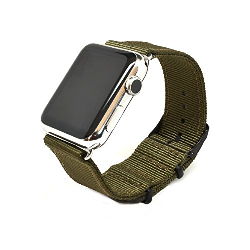 Nato Skull 42mm Apple Watch Band, Military Green Ballistic Nylon Band Strap with PVD Metal Clasp for All 42mm Apple Watch Models (Connector Included)