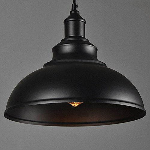 Wrought Iron Island Pendant - Vintage Pendant Lamp, Motent Industrial Retro Metal Dome/Bowl Shaped Hanging Light in Painted Finish, Antique Minimalist 1-Light Iron Wrought Island Lighting, 11.4