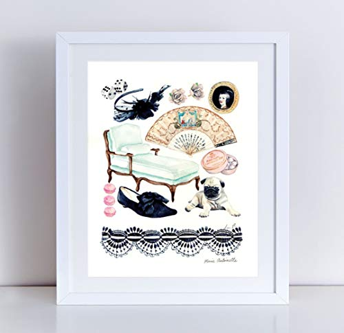 Marie Antoinette Collage Giclee Art Print Watercolor Painting Wall Home Decor Versailles Paris France French Court Princess Chateau Rococo Queen Fashion Illustration Style Feminine Pretty