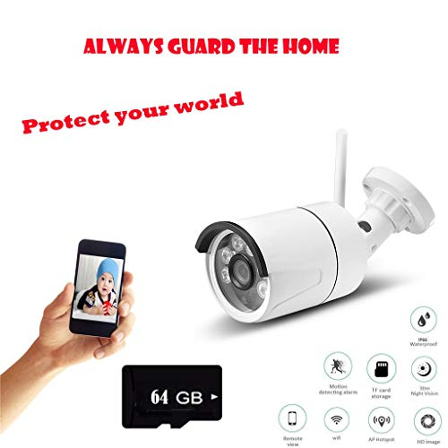 Efaster Outdoor/Indoor Baby Monitor,Surveillance Home IP Security IR Night Vision Motion Camera Sports Camera 720P with 64G TF Card Memory Card (White)