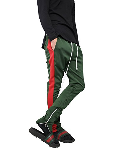 Slim Stripe Pant (Hat and Beyond VW Mens Stripe Training Pants Skinny Fit Stretch Casual Elastic Athletic Slim Joggers (Large, p120_HGN/Red))