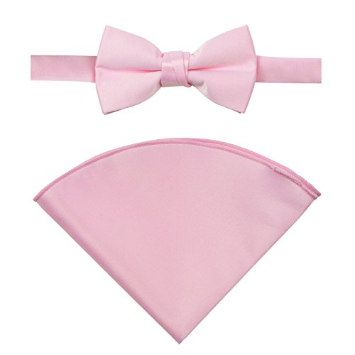 Spring Notion Boys' Satin Bow Tie and Handkerchief Set Medium Light (Tie Pocket Hankie Set)