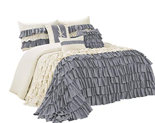 7 Piece BRISE Double Color Ruffled Comforter Set-Queen King Cal.King Size (King, ()