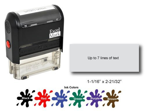 ExcelMark Self Inking Rubber Stamp with up to 7 Lines of Custom Text
