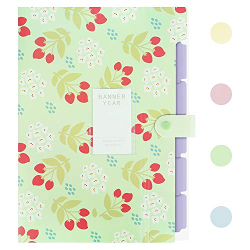 Lanivas Floral Print Expanding File Folder A4 Letter Size 5 Pockets Heavy Duty Accordion Document Organizer with Snap Closure - Free Labels