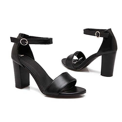 Heeled Open Sandals Toe Women's Buckle Pu Heels High Black VogueZone009 Solid wq8AH4S