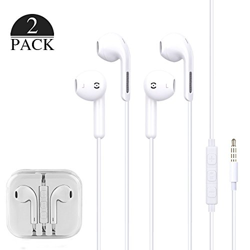 BROOKE 2-PACK Premium Earphones/Earbuds/Headphones with Stereo Mic&Remote Control for iPhone iPad iPod Samsung Galaxy and More Android Smartphones Compatible With 3.5 mm Headphone (WHITE) by BROOKE