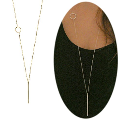Casual Necklace (Bar Long Necklace Lariat Open Circle Y Pendants Simple Minimalist Choker Collarbone Chain Charms Jewelry Bar With Round Golden Plated)