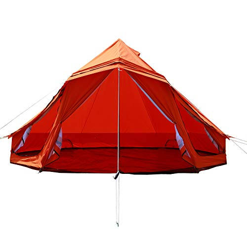 PlayDo 5M/16.4ft Waterproof Family Camping Cotton Canvas Wall Tent Teepee Yurts Tent-Orange Color