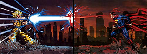 (Goku vs Superman Set of 2 Pictures. Action 3D Holographic Poster by Eyecandy 3D. Fan Art. Included, 2 Unframed Prints)