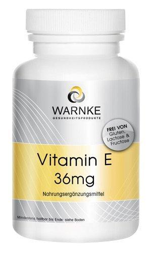 Vitamina E 36mg – productos para la salud Warnke – sin aceites – 100 pastillas –