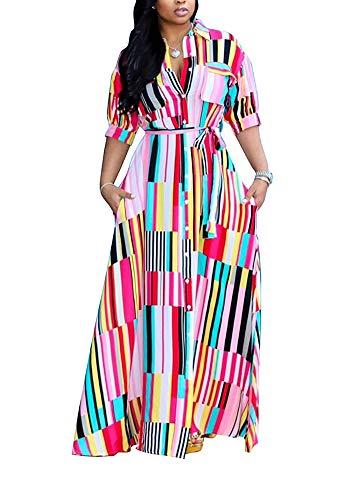 LAJIOJIO Women Sexy Stripe Print T-Shirt Dress Short Sleeve Turn Down Long Dresses with Belt Pink M