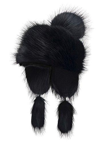 Futrzane Faux Fox Fur Winter Trapper Hat Women Russian Style Pompom (Black)