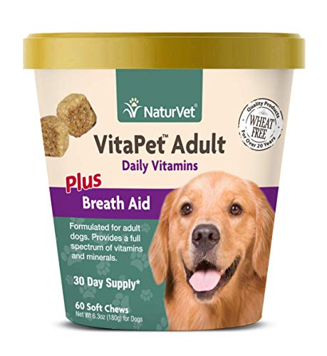 NaturVet - VitaPet Adult Daily Vitamins for Dogs - Plus Breath Aid - Provides a Full Spectrum of Vitamins & Minerals - Enhanced with Omega-6 Fatty Acids (60 Soft Chews)