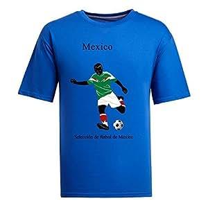 Custom Mens Cotton Short Sleeve Round Neck T-shirt,2014 Brazil FIFA World Cup teams blue