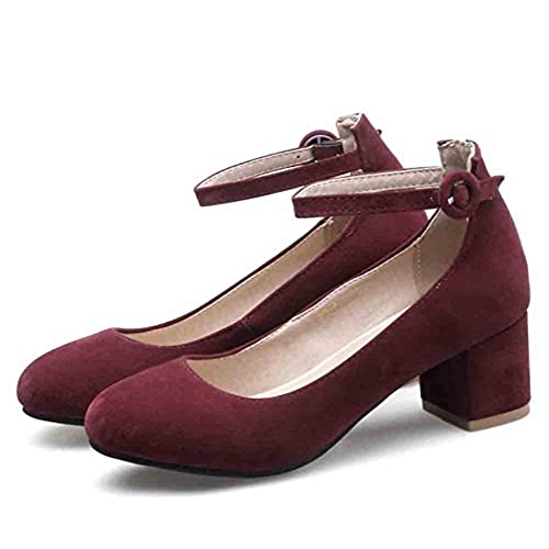 0db49e8882e hot sale 2017 Easemax Women s Faux Suede Ankle Buckle Straps Round Toe Mid  Chunky Heel Pumps