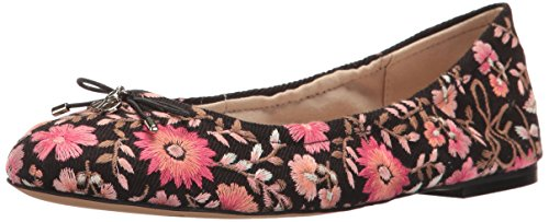 Sam Edelman Women's Felicia 3 Ballet Flat, Light Blue Denim/Blue Multi Maya Floral Embroidery Black/Pink Multi