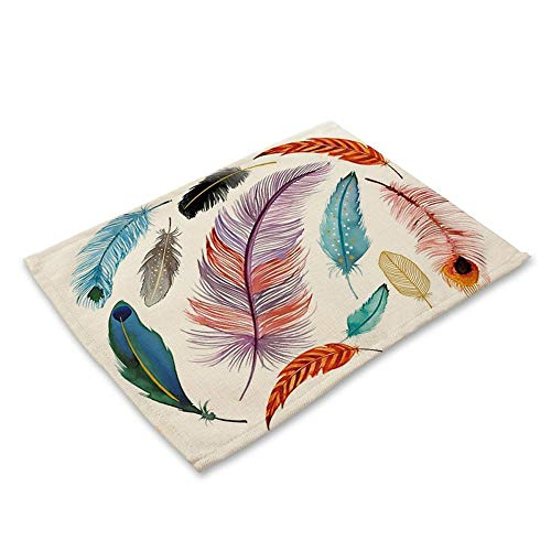 Coaster Mats Clearance, Feather Pattern Cotton Linen Table Placemats Dinner Kitchen Pad Coffee Coaster Mats (A)