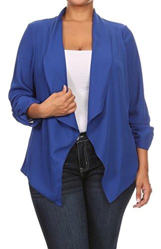 2LUV Plus Women's Open Front Gathered Sleeve Plus Size Blazer – X-Large, Royal Blue
