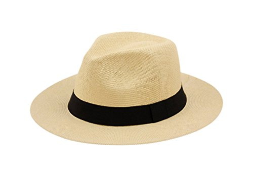 Wide Brim Paper Straw Fedora, Classic C Crown Panama Sun Hat with Grosgrain Band and Adjustable Drawstring (One Size Fits Most) ()