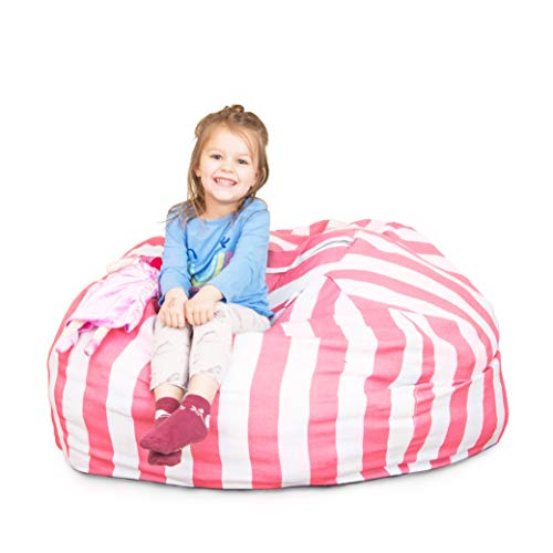 Chubberroo Stuffed Animal Bean Bag Chair for Kids, Extra Large Storage for Toys and More, Pink and White Stripe Lounger for Children, 38
