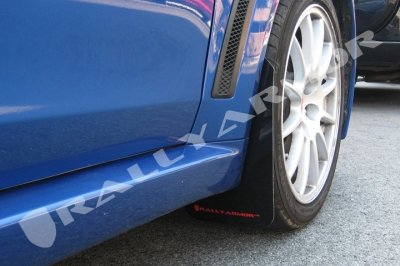 Rally Armor MF10-UR-BLK/RD Black, Red Mud Flap with Logo (2008+ Mitsubishi EVO X UR)