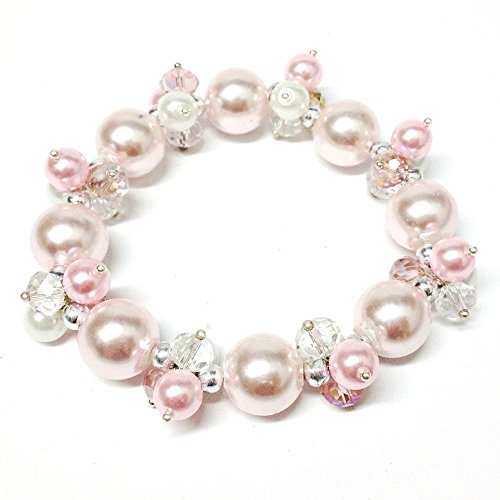 Bleek2Sheek Pearl Passion Crystal and Glass Pearl Cluster Bracelet (TRI-COLOR PINK)