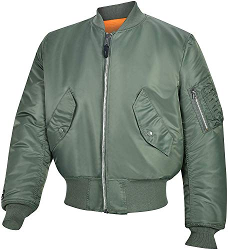 Valley Apparel LLC Made in USA Men's MA-1 Nylon Flight Jacket, Sage Green, XXS