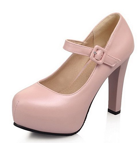 PU Buckle AmoonyFashion Solid Shoes Pumps Womens High Pink Round Toe Heels 5qn7wTSYAn