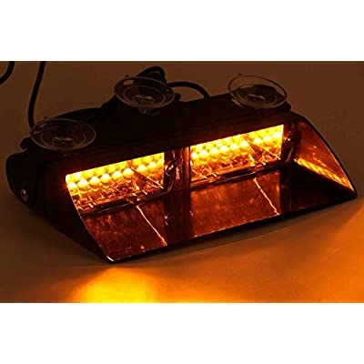 LED Emergency Strobe Lights Bar DIBMS 16 LED Car Truck Warning Flashing Hazard Light Windshield Light For Interior Roof Dash Windshield With Suction Cups Amber Yellow: Automotive