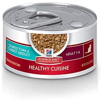 Hills Science Diet Wet Cat Food, Adult, Healthy Cuisine, Seared Tuna & Carrot Recipe, 2.8 oz Cans, 24 Pack