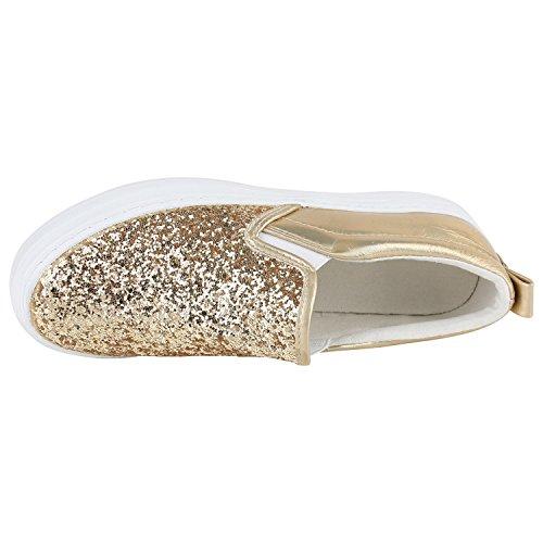 Damen Slip-Ons Glitzer Plateau Slipper Metallic Stoffschuhe Muster Denim Lack Schleifen Schuhe Flats Plateauschuhe Gr. 36-41 Flandell Gold Glitzer Weiss