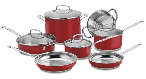 Cuisinart CSS-11MRA 11 Piece Chef s Classic Stainless Color Series Set, Red