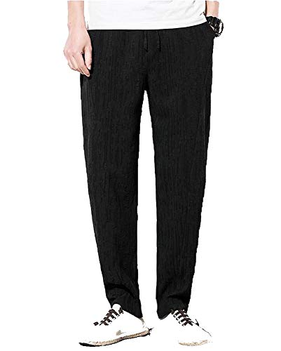 Coulisse Lino Pantaloni Sportivi Uomo Morbidi In Flairstar Mode Di Nero Estate Elastico Larghi Con Marca qUx4tO