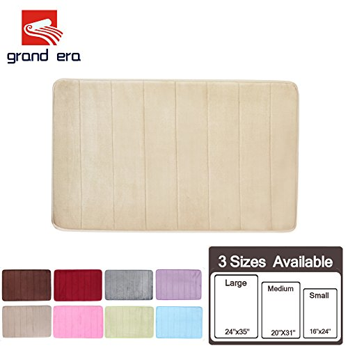 GRAND ERA Incredibly Soft and Absorbent Memory Foam Bath Mat, Non-slip Bathroom Rugs, 24