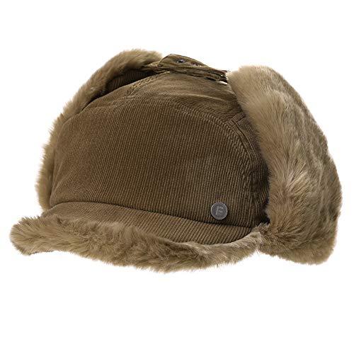 Womens Winter Fitted Faux Fur Corduroy Earflap Dad Elmer Fudd Hat Baseball Cap Brown
