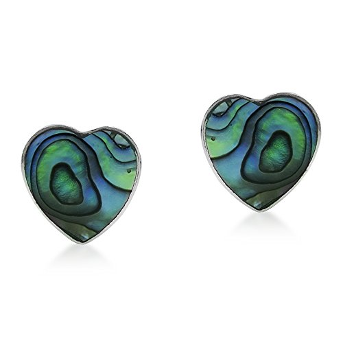 Nice Green Abalone Shell Heart .925 Sterling Silver Post Earrings - Heart Sterling Silver Post Earrings