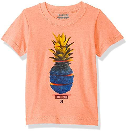 Hurley Boys' Toddler Character Graphic T-Shirt, Bright Mango Heather Pines, 2T - Hurley Kids Shirt