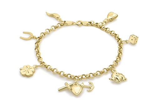 "Jewellery World Bague en or jaune 9carats 7-lucky Charme Bracelet 18cm/7"""
