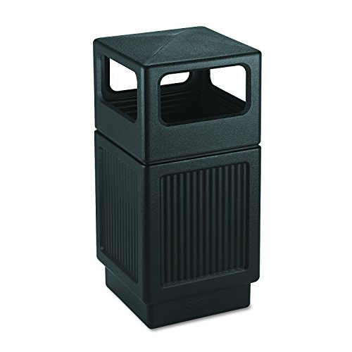 Safco Products Canmeleon Outdoor/Indoor Recessed Panel Trash Can 9476BL, Black, Decorative Fluted Panels, 38-Gallon - Wicker Cover Litter Box Brown