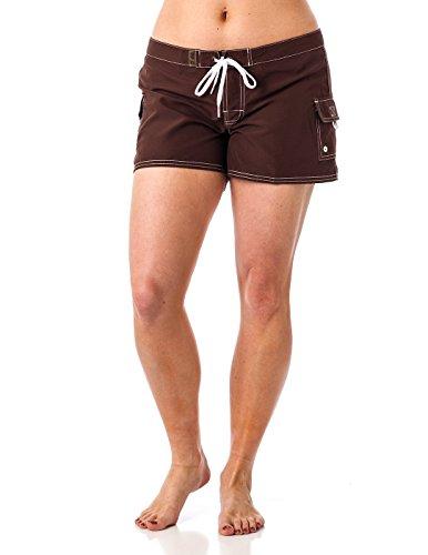 (Young Women's Beach Rays BoardShort Swimwear Brown)