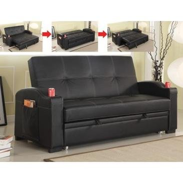 Amazon.com: Best Quality Furniture Faux Leather Sofa Bed, Black ...