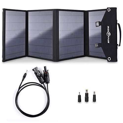 Rockpals 100W Foldable Solar Panel Charger for Suaoki Portable Generator / 8mm Goal Zero Yeti 100/150/400 Power Station/Webetop Battery Pack/USB Devices, with 3 USB Ports