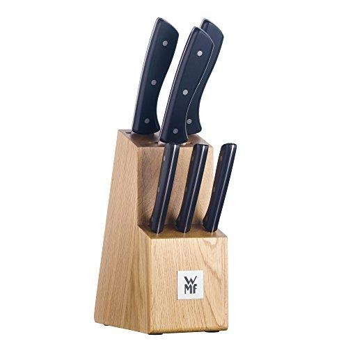 WMF Messerblock mit Messerset, 7-teilig, 6 Messer geschmiedet, 1 Block aus Eichenholz, Spezialklingenstahl, Edelstahl-Nieten