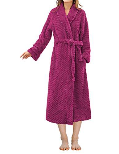 LAPAYA Women's Long Bathrobe Shawl Collar Full Length Soft Warm Plush Fleece Robe, Rose Red, Tag size XL=US size L